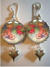 Baby Mermaid &  Fish Sterling 925 Silver Bubble Charm Earrings - Vintage Image