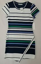 Almost Famous Juniors' Sz Xl Navy/Green Striped Ribbed Bodycon Sheath Dress (E)