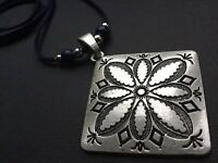 Antique Silver Chunky Large FLOWER Necklace With Diamanté's And Tassel Statamen
