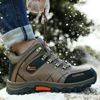 Mens Waterproof Leather Winter Work Hiking Boots Outdoor Warm Fur Inside Shoes