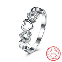 New Genuine 925 Sterling Silver Love Heart Crystal Wedding Engagement Band Ring