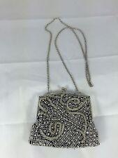 Zoe Adams Small Silver Beaded Purse Evening Bag (EM)