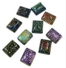 6pc  mix color 8X6mm Rectangle Dichroic Glass Cabochons-7918a