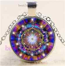 Stargate Mandala Cabochon Glass Tibet Silver Chain Pendant Necklace