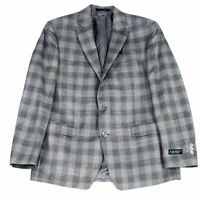Lauren by Ralph Lauren Mens Sport Coat Gray Size 46 Long Plaid Wool $375 #010