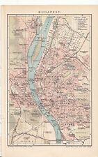1901 HUNGARY BUDAPEST City Plan Antique Map