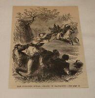 1887 magazine engraving ~ DEATH OF HAWK-EYE