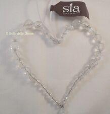SIA Home Fashion CUORE di perline trasparenti da appendere con laccio bianco