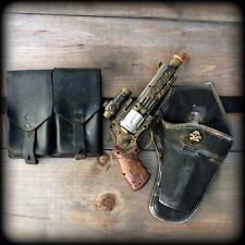 Steampunk cyber goth GUN+HOLSTER+BELT revolver pistol Victorian laser LIGHT Toy