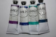 4 Gamblin Oil Paint-TURQUOISE BLUE VIOLETS SET - series 2