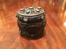 Antique Jeweled Chinese Silver Filigree Enamel Tea Caddy, Early Jade Bangle.