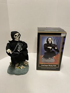 Grim Reaper Playing Violin Gemmy Halloween Factory Animated Figure 1996 - Tested