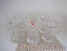 EIGHT VINTAGE DEPRESSION GLASS POSY THISTLE VASES ~ WEDDINGS ~ FUNCTIONS