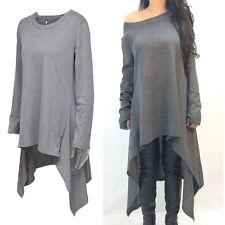 Cotton Blend Long Sleeve Shirt Round Neck Dresses for Women