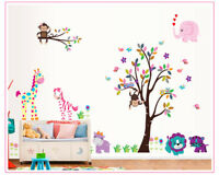 Jungle Zoo Animals Tree Wall Stickers Kids Nursery Decals Decor Girls Bedroom