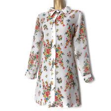 Lili London Sheer Floral Blouse Size 10 Ladies White Long Sleeves Boho korean 🌈