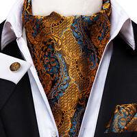 Ascot Yellow Blue Paisley Mens Silk Cravat Tie Set Hanky Business Wedding USA