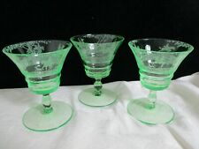 Cambridge Light Emerald Green Imperial Hunt Cordial Goblets Etched Glass Set 3