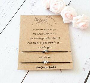 Pinky Promise Best Friend Friendship Wish Bracelet Couples Gift Keepsake Card