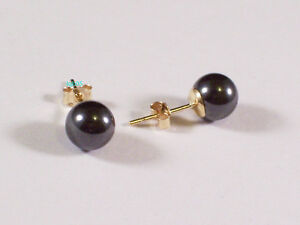 New Boxed Ladies 9ct Yellow Gold Hematite Studs Earrings 6mm Hallmarked