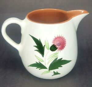 """Vintage Stangl Pottery Pitcher Thistle Floral Hand Painted  32 oz - 5.5"""""""