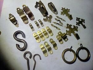 hooks and clampons, brass, vintage and antique