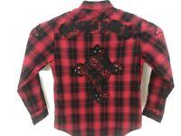 Rock & Roll Cowboy Mens Medium L/S Pearl Snap Western Shirt Rockabilly Red Plaid