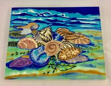 Shells Motif Hand Painted Ceramic Art Tile 11 by 14-Inch .new In The Box.