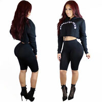 Sexy Womens Long Sleeves Crop Top Bodycon Short Romper Playsuit Club Party 2pcs