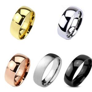 Soild Titanium 6mm Wide Mirror Polish Dome Classic Comfort Wedding Ring Band
