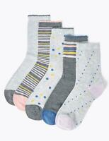 Ex M&S Ladies 5 Pair Pack Sumptuously Soft Ankle Socks Grey Mix