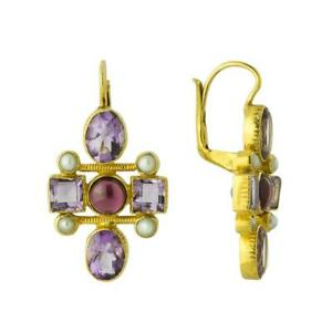 Cellini Cross Amethyst, Garnet and Pearl Earrings: Museum of Jewelry