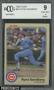 1983 Fleer #507 Ryne Sandberg Chicago Cubs RC Rookie HOF BCCG 9