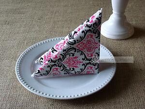 Fuchsia Pink Black and White Napkins Wedding Decor Table Centerpiece Linens Set