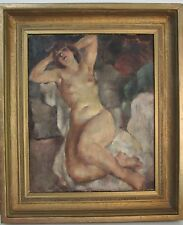 LISTED GEORGETTE NIVERT B.1900 FRENCH   RECLINING NUDE   OIL ON CANVAS PAINTING