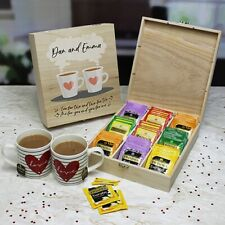 Personalised 9 Compartment Tea Storage Box (TEA FOR TWO)