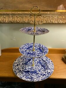 Royal Crown Derby Three Tiered Server Blue Peacock Pattern with Gold Handle