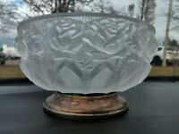 Frosted satin glass rose bowl, silver plate footed bowl vintage Italy