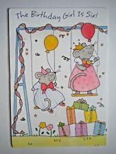 "VINTAGE TRI-FOLD ""THE BIRTHDAY GIRL IS SIX!"" GREETING CARD by Hallmark Crown"