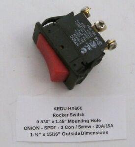 """KEDU HY60C Rocker Switch (0.830"""" x 1.45"""") ON/ON - SPDT - 3 Con / Screw - 20A/15A"""