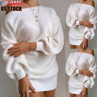 Women's Off Shoulder Long Sleeve Knit Jumper Mini Dress Bodycon Sweater Pullover