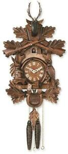 Carved Animals Hunters Cuckoo Clock Made in Germany