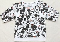 Disney XS Mickey Mouse Graphic Sweatshirt White Black Top Extra Small LongSleeve