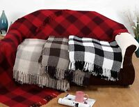 LARGE 100% Cotton Woven Check 2 tone Sofa / Bed Throws
