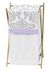 Sweet Jojo Designs Baby Kids Clothes Laundry Hamper Purple Grey Damask Bedding