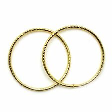 9ct gold hoop earrings 18 mm diamond cut sleepers light weight (1 pair)