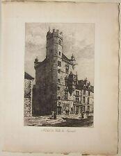 1890 HÔTEL DE VILLE DE LUXEUIL-les-Bain Sadoux acquaforte originale Haute-Saône