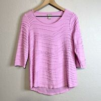 Chicos Women's 0 = S Ridge Seamed Blouse 3/4 Sleeve Top Soft Lightweight Pink
