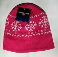 HOT PINK Womens Mens? KNIT FLEECE Lined Beanie Hat Cap Warm Winter SnowFlake