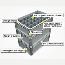 Glass Storage Crate Containers for Champagne Flutes, Wine Glasses, etc...